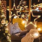 Minkissy luci di inizio di natale luce appesa per finestra con ventosa 8 luci a batteria decorazioni per appendere le finestre per decorazioni natalizie (luce bianca calda)