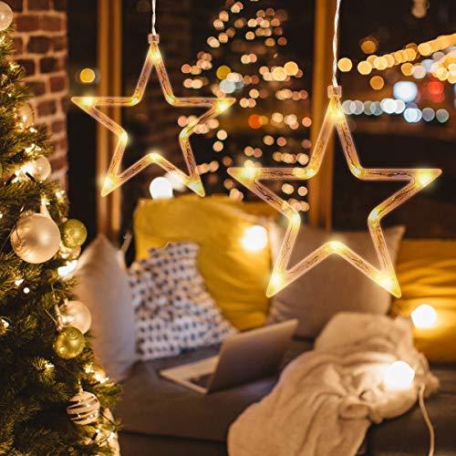 LEDMOMO Weihnachtsbeleuchtung - Fünfzackigen Stern hängenden Fensterlicht mit Saugnapf und Batteriebetrieben für Weihnachtsdekoration (warmes weißes Licht)