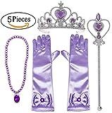 Alead Prinzessin Verkleiden Sich Rapunzel lila 4 Stück Geschenk-Set Diadem,Handschuhe,Zauberstab,Halskette … (lavendel)