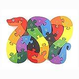 OFKPO Giocattolo Puzzle in Legno a Form di Serpente - Giocattoli Educativi per Bambini