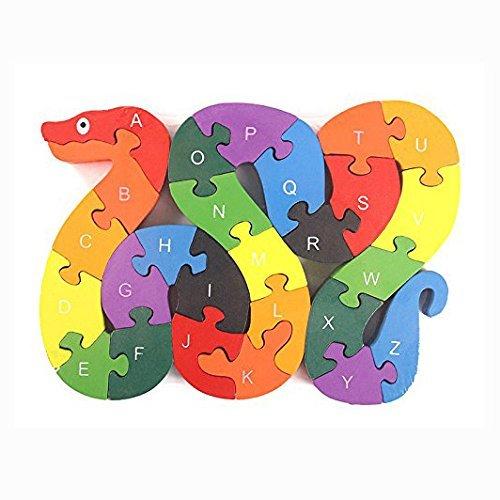 OFKPO Hölzerne Nummer/Alphabet Puzzle Kinder Lernspielzeug,Geschenk für Kinder(Schlange)