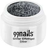 99nails Glitter Effektgel - Silber, 1er Pack (1 x 5 ml)