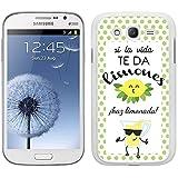 Funda carcasa TPU Gel para Samsung Galaxy Grand NEO Plus diseño ilustración frase si la vida te da limones, ¡haz limonada! borde blanco