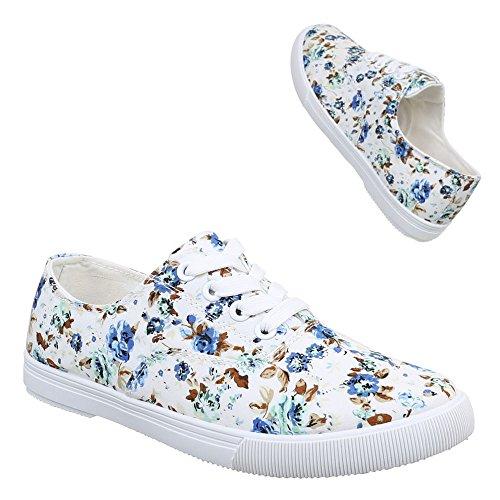 Scarpe Da Donna, 084, Scarpe Casual Sneaker Allacciate Bianche Blu