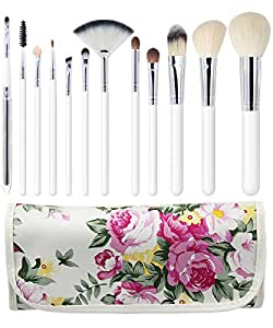EmaxDesign - Set da 12 pennelli professionali per make-up, in pelo di capra, impugnatura rosa, adatti per l'uso con vari prodotti per il viso