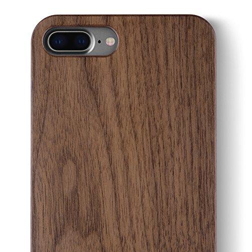 Walnut iPhone 8 / 7 PLUS Holz Hülle - iCASEIT Ultra Slim Echtem Holz Schutzhülle Hart Back Cover Bumper Etui für Apple iPhone 8 / 7 PLUS (5.5 Zoll) Handyschale - FB0311 - Walnut