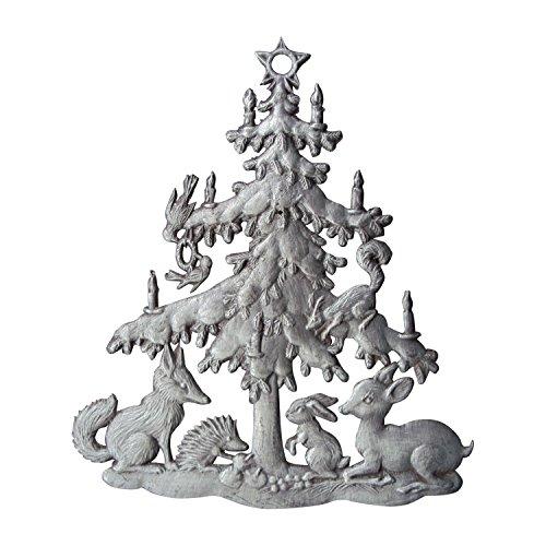 Zinngeschenke Tiere unterm Weihnachtsbaum patiniert aus Zinn (HxB) 7,5 x 6,5 cm Christbaumschmuck