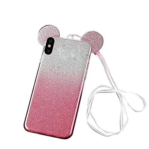 QianYang Transparente Coque pour iPhone X TPU Silicone Etui iPhone X Ultra Slim Soft Flexible TPU Bumper Protective Case Cover pour iPhone X Souple Coque avec Bling Diamant Crystal Strass TPU Bumper H Gradient-Rose