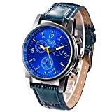 Zarupeng Relojes de pulsera de lujo del reloj de imitación de cuero del cocodrilo de la moda de lujo para hombre (Azul)