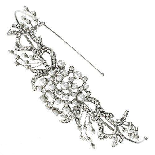 Motivo floreale con foglie e cristalli Swarovski, con fascia per capelli Tiara da sposa