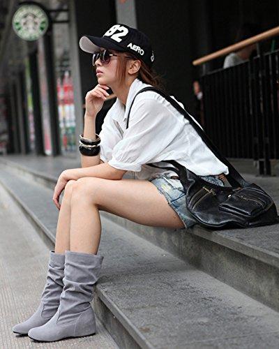 Minetom Damen Winter Warme Bowknotdekoration Stiefeletten Mit Strass Mode Schuhe Grau