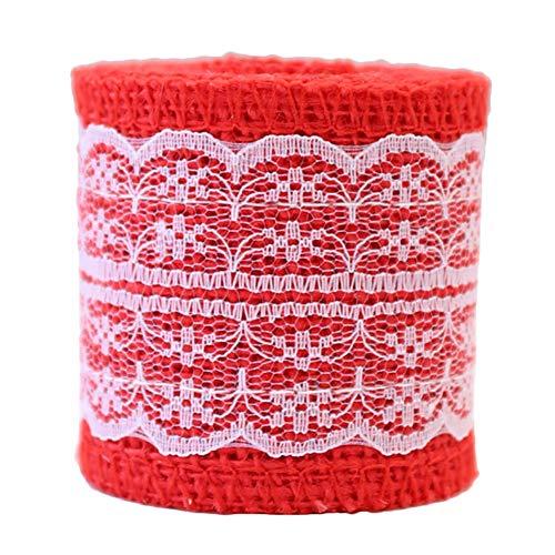 Qinlee Weihnachten Juteband Rolle Spitze Sackleinen Ribbon DIY Handwerk Band Dekor für Haus Hochzeit Party Xmas 2M (Rot)