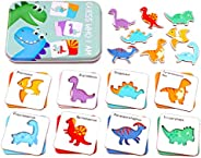Tomaibaby Wooden Cartoon Dinosaur Cognition Puzzle Matching Game Puzzle Card Toy for Kids Toddlers