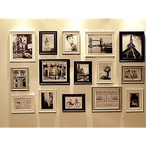 Conjunto de Marcos de Fotos con RD15 Imágenes, Marco de Fotos, Conjunto de Marcos de Fotos de Pared con 15 Marcos de Alta Calidad, Conjunto de marcos de fotos de pared grande, Mejores Decoraciones de Pared (RD15