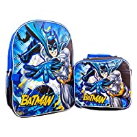 Super Hero Batman Kids School Backpack with Attached Removable Lunch Box, Book Bag, Travel