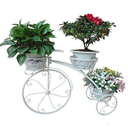 Estante de la flor de hierro de varios pisos bicicleta modelado balcón sala de estar estante de macetas de flores planta verde multifuncional ( Color : White )