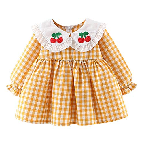 Jersey Kostüm Girl Idee - INLLADDY Kleid Kostüm Mädchen Baby Girl Plaid Prinzessin Kleid Cherry Stickerei Cute Casual Kleidung Gelb Höhe:80cm