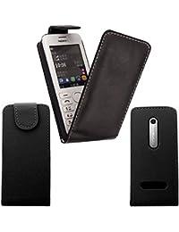 Gr8 value Luxury PU Leather Wallet Cover Flip Phone Mobile Case For Nokia Asha 302 Black Flip Case