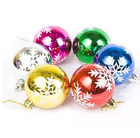 Da.Wa 6 PCS Dia 7cm SnowFlake Druck Baum Hanging Baubles Weihnachten Baum Dekoration Weihnachten Bälle (zufällige Farbe)