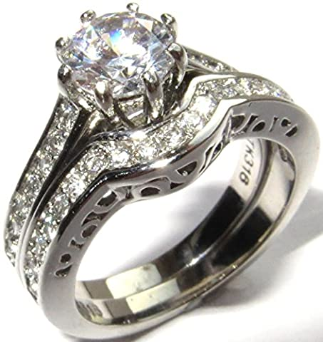 Ah! Jewellery 1.45ct Created Diamond Ring And Band Set. Stainless Steel. Stamped 316. Never Tarnish. Beautiful Wedding Engagement Set. Brilliant Quality.