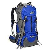 Skysper 50L Zaino da Treking, Zaino Impermeabile con Copertura della Pioggia per Viaggio Trekking Escursione Blue