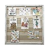 solagua 15 Modelle von Holzwand Rahmen mit Seilstütze und Kleine Verzierte Wäscheklammern (Gebrochenes Weiß, 52 x 52 cm)