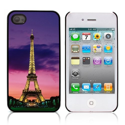 Graphic4You Paris At Night Skyline View Postkarte Ansichtskarte Design Harte Hülle Case Tasche Schutzhülle für Apple iPhone 4 und 4S Design #5