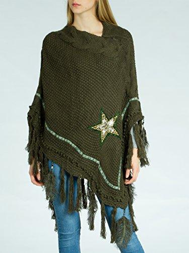 CASPAR Fashion - Poncho -  donna Verde oliva