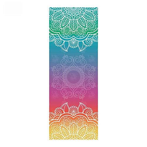 KKVK 1830 * 630 * 2mm Klassische Mandola Yoga Towel Diamant Textur rutschfeste Tragbare Reise Yoga Matte Towel Pilates Abdeckung Fitness Yoga Decke Grün 1830 * 630 mm