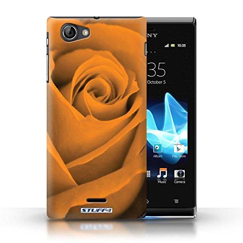 Kobalt® Imprimé Etui / Coque pour Sony Xperia J (ST26i) / Jaune conception / Série Rose Orange