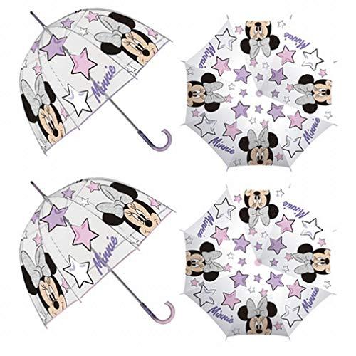 Arditex - Paraguas Infantil Niñas, Paraguas Transparente Burbuja EVA para Niñas Tematizado Minnie - Campana de Apertura Manual de 48 cm con Forma de Cúpula, Función Antiviento - 2 Colores Surtidos