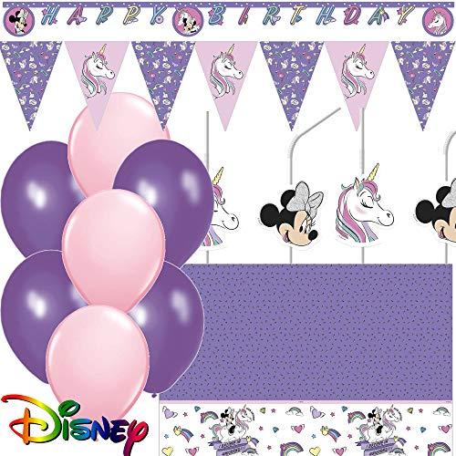 * Minnie Mouse & Einhorn * mit Partykette + Wimpelkette + Tischdecke + Trinkhalme + Luftballons + weitere Deko | Unicorn Kindergeburtstag Mottoparty Disney ()