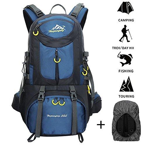 Imagen de 45l+5l impermeable  de senderismo con cubierta lluvia, paquete del alpinismo escalada marcha trekking camping deporte al aire libre unisex shenlan