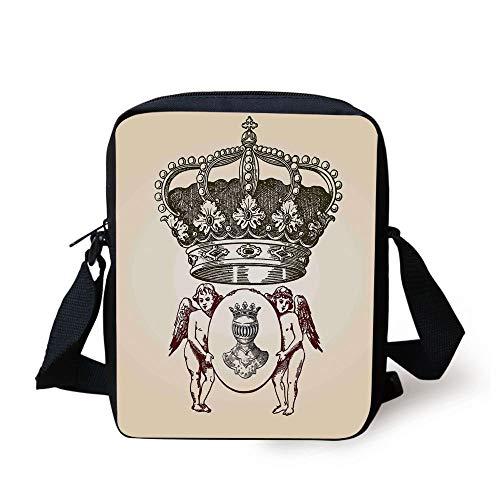 Medieval,Illustration Shield Design Art with Crest Badge Medallion Angel Royal,Cream Maroon Sepia Print Kids Crossbody Messenger Bag Purse -