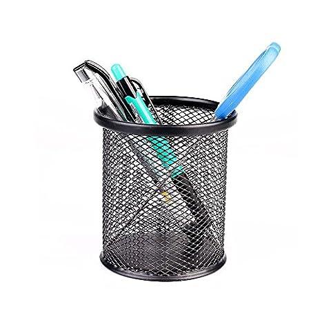Stylo Support bureau, boîte de rangement, panier Boîte de rangement de bureau crayon en métal d'alimentation en maille Noir Round