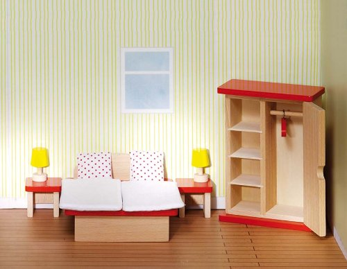 Goki 51715 Puppenhaus-Schlafzimmer 11-teiliges Set