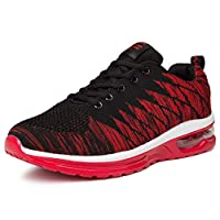 WYSBAOSHU Unisex Mens Womens Trainers Road Running Shoes Casual Air Cushion Athletic Sneakers(10.5 UK/45 EU,red