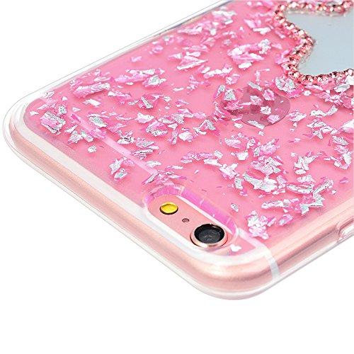 Badalink Etui en TPU pour iPhone 6 Plus / iPhone 6S Plus Silicone Souple Transparent Coque de Protection Ultra Mince Scratch Cas de Téléphone Peint Coloré Arrière Couverture BlingBling Poudre de Paill Etoile à Cinq Rayons