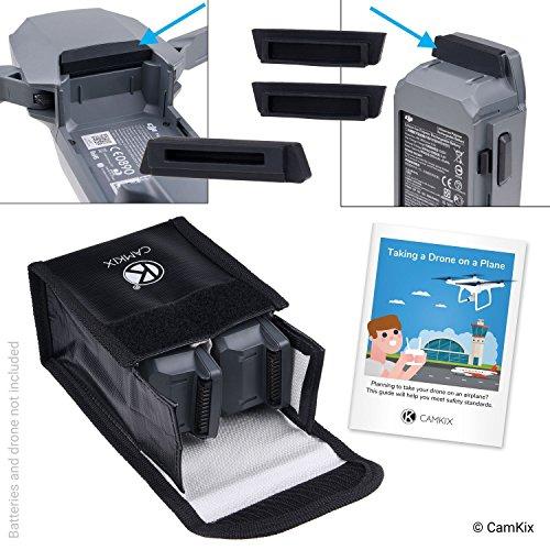 CAMKIX Reisesicherheits-Pack Kompatibel mit DJI Mavic Pro/Platinum - Für 2 Akkus - Beinhaltet: LiPo-Sicherheitstasche, 2X Akku-Deckel, 1x Ladeanschluss-Abdeckung und Reise-Anweisungen