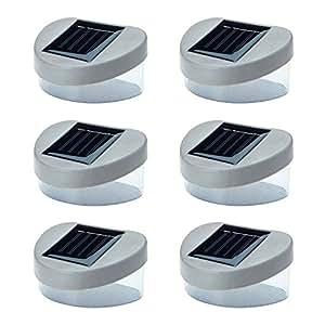 6 x SOLAR POWERED DOOR / FENCE / WALL LIGHTS LED OUTDOOR GARDEN LIGHTING