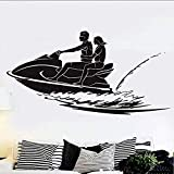 Autocollants & Stickers muraux Sports nautiques Vinyle Applique Jet Ski Wall Sticker Vinyle Ski Papier Peint Décor À La Maison Beach Jet Ski Wall Sticker Fenêtre Autocollant 57x29cm