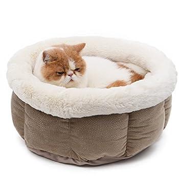 PAWZ Road Pets lit Paniere chat Caverne chaton chatiere chat Form Rond Ultra Doux de laine Pour Chiens chats pour Animaux De Compagnie Lavable En Machine ( Couleur : Beige )