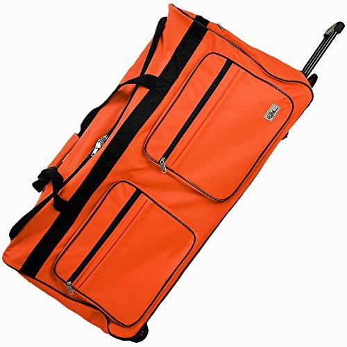 XXL Reisetasche mit Trolleyfunktion 160 Liter in Orange Sporttasche