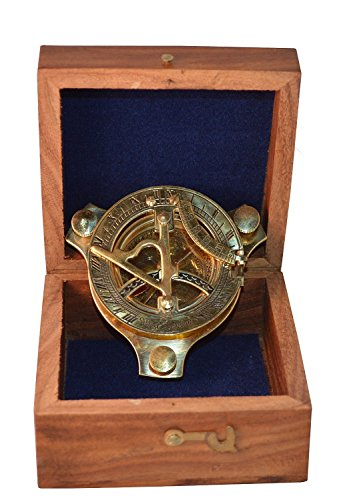 Zap Impex   brass sundial, compass Nostalgic brass clock in wooden box Wooden gift box, compass 3 inch with rosewood box (5 inch)