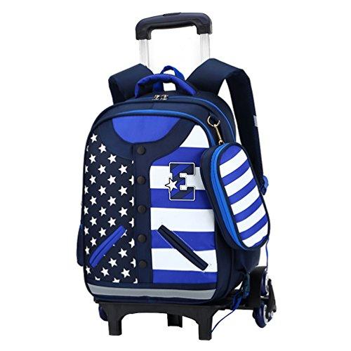Vbiger Unisex Kinderrucksack Rollen Rucksack Rollender Tagesrucksack Großraum Trolley Schultasche für Grundschüler