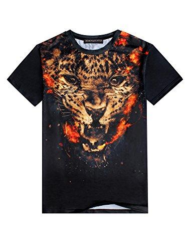 Demon&Hunter Herren Rundhalsausschnitt Kurzarm T-shirts 3D FD001132 Gepard