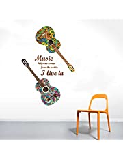 Rawpockets Guitar n Music' Wall Sticker (Paper Print, 130 cm x 75cm)