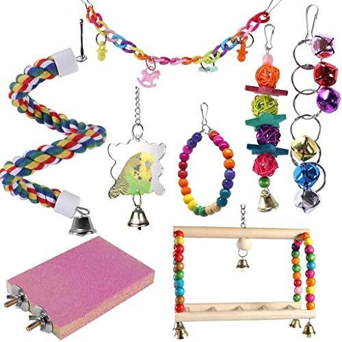 Yowablo Papageienbiss Spielzeug Vogel Spielzeug Schaukel Hängebrücke 8er Set (8Teile/Satz,Mehrfarbig)