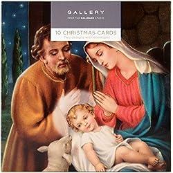 Hallmark - Tarjeta de Navidad (10 tarjetas, 2 diseños con motivos religiosos)