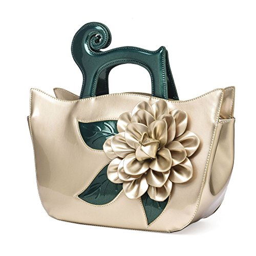 KAXIDY Lack-Leder Handtasche Mode Umhängetasche Tasche Schultertaschen Gold